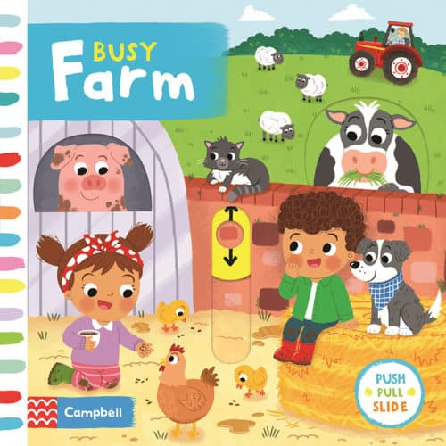 Busy Farm Push Pull Slide board book