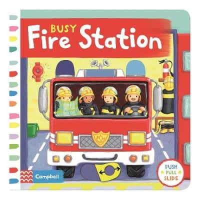 Busy Fire Station Push Pull Slide board book