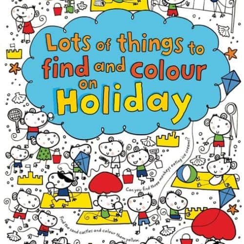 Usborne Lots of Things to Find and Colour on Holiday activity and colouring book