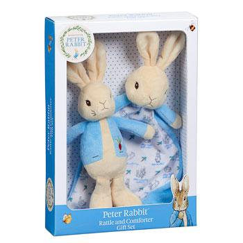 Peter Rabbit rattle and comforter baby gift set